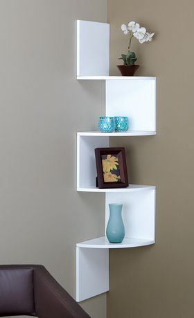 Provo tag re d 39 angle en bois blanc quatre tablettes - Esquineros para paredes ...