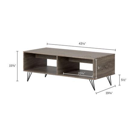 Table De Salon Avec Rangement.Table De Salon Avec Rangement Evane Chene Chamois De Meubles South Shore