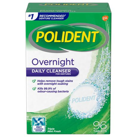 polident overnight daily denture cleanser walmart canada
