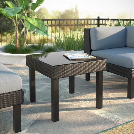 corliving ppo 801 t oakland textured black weave patio side table walmart canada. Black Bedroom Furniture Sets. Home Design Ideas