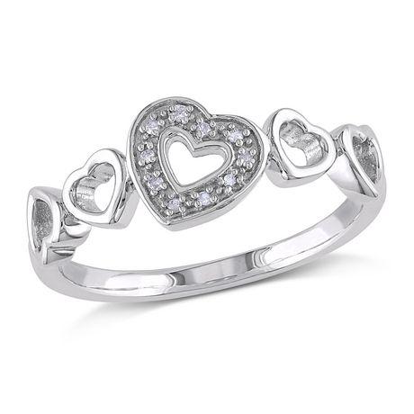Bague Miabella multi-cœurs avec diamant en argent sterling - image 1 de 3