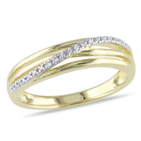 Bague anniversaire Miabella avec diamant en argent massif plaqué rhodium jaune - image 1 de 4