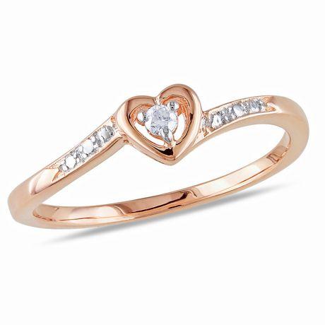 Bague de fiançailles Miabella en forme de cœur avec diamant en argent massif plaqué rhodium rose - image 1 de 4