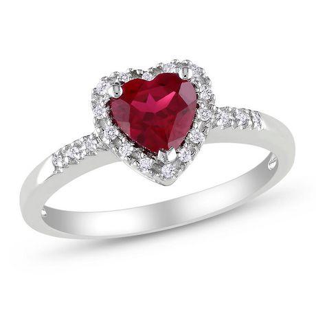 Bague Tangelo en forme de cœur avec 1 carat de rubis synthétique et 0.10 carat de diamant en argent sterling - image 1 de 3