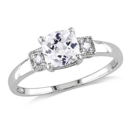 Bague de fiançailles Miabella avec 1.25 carat de saphir blanc synthétique de coupe coussin et diamant en argent sterling - image 1 de 4