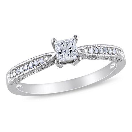 Bague de fiançailles Miabella avec 0.33 carat de saphir blanc synthétique et diamant en argent sterling - image 1 de 4