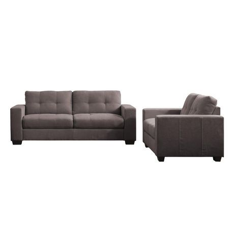 Corliving Club Tufted Grey Chenille Fabric Sofa Set Walmart Canada