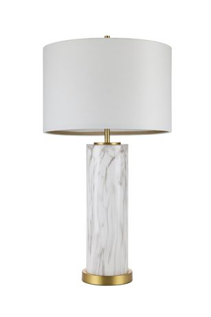 Cresswell Faux Marble Glass with Antique Brass Table Lamp - image 1 of 6