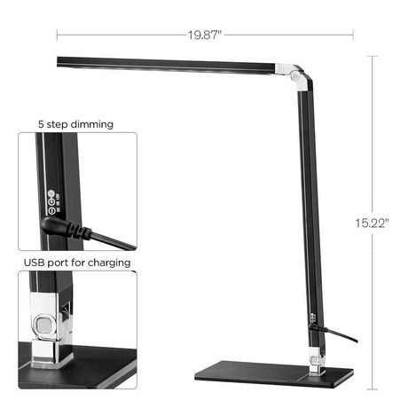Lampe de bureau Cresswell noire à DEL avec bras réglable et prise de chargement USB - image 5 de 6