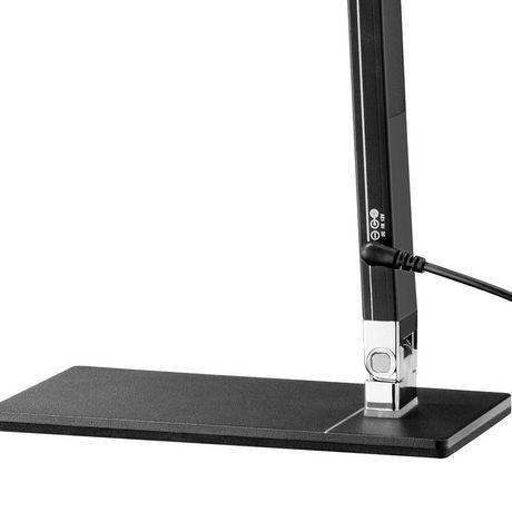Lampe de bureau Cresswell noire à DEL avec bras réglable et prise de chargement USB - image 2 de 6