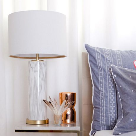 Cresswell Faux Marble Glass with Antique Brass Table Lamp - image 4 of 6