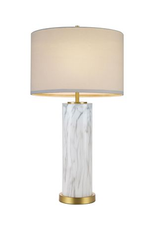 Cresswell Faux Marble Glass with Antique Brass Table Lamp - image 2 of 6