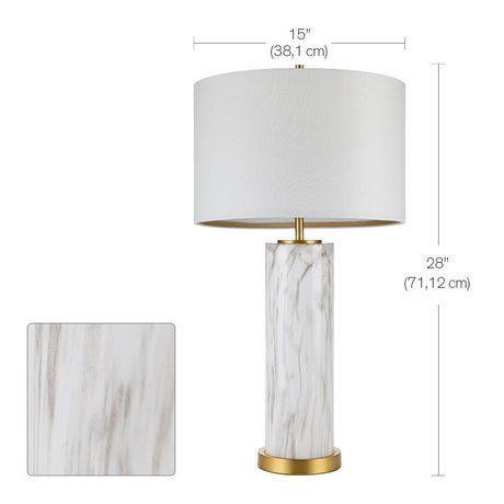 Cresswell Faux Marble Glass with Antique Brass Table Lamp - image 3 of 6