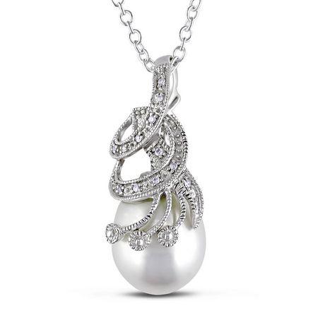 Miabella Pendentif au détail miligrain avec perle d'eau douce blanche de culture en forme de riz 10-10.5 mm et accent de diamants en argent sterling, 18 pouces en longueur - image 1 de 2