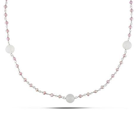 Miabella Collier avec perles d'eau douce roses de culture et agate blanches 52 ct TGW en argent sterling, 39 pouces en longueur - image 1 de 3