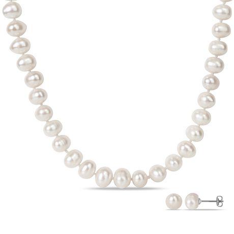 Miabella Ensemble de collier et boucles d'oreilles avec perles d'eau douce blanches de culture, 18 pouces en longueur - image 1 de 3