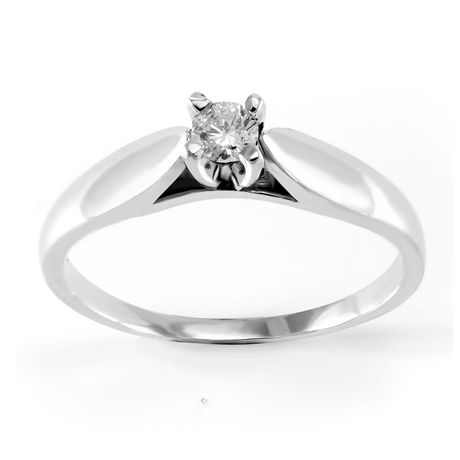 0.10 ct - Round Brilliant Diamond Solitaire Ring in Sterling Silver - image 1 of 4
