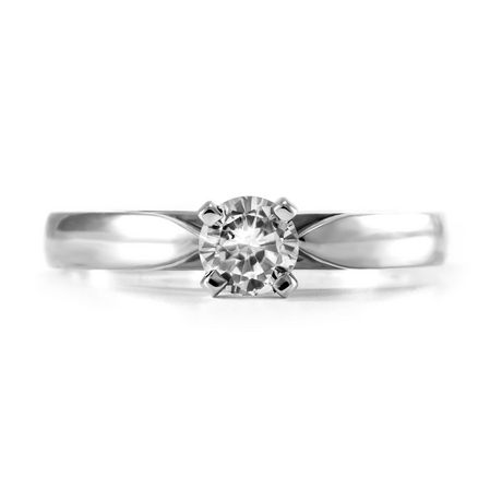 0.20 ct - Round Brilliant Diamond Solitaire Ring in 14kt White Gold - image 3 of 6