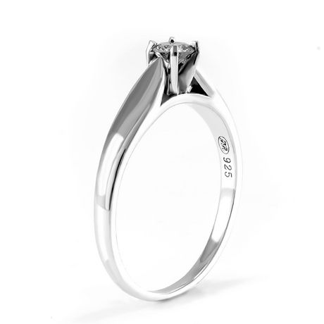 0.15 ct - Round Brilliant Diamond Solitaire Ring in Sterling Silver - image 2 of 4