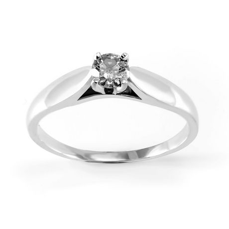 0.15 ct - Round Brilliant Diamond Solitaire Ring in Sterling Silver - image 1 of 4