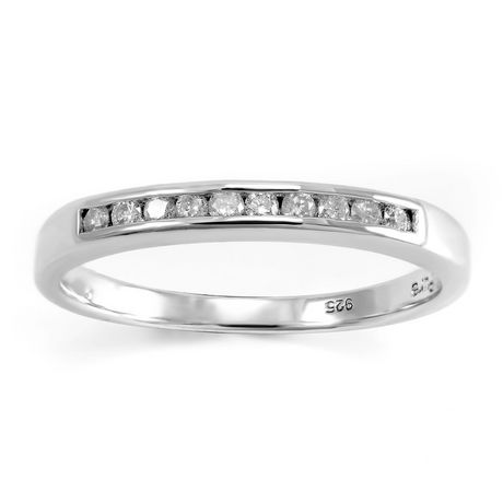 0.15 ct - Diamond Wedding Band in Sterling Silver - image 1 of 4