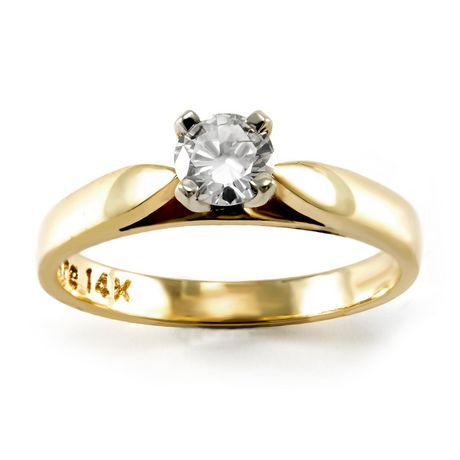 0.20 ct - Round Brilliant Diamond Solitaire Ring in 14kt White Gold - image 1 of 4