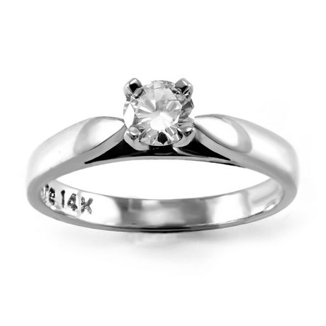 0.20 ct - Round Brilliant Diamond Solitaire Ring in 14kt White Gold - image 1 of 6