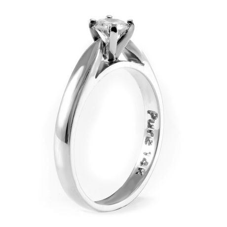 0.20 ct - Round Brilliant Diamond Solitaire Ring in 14kt White Gold - image 2 of 6