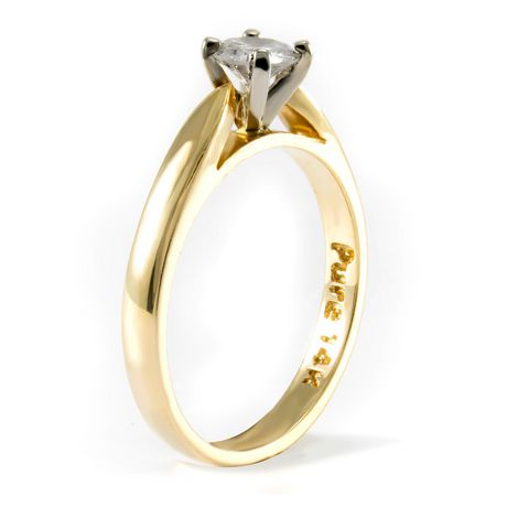 0.30 ct - Round Brilliant Diamond Solitaire Ring in 14kt Yellow Gold - image 2 of 4