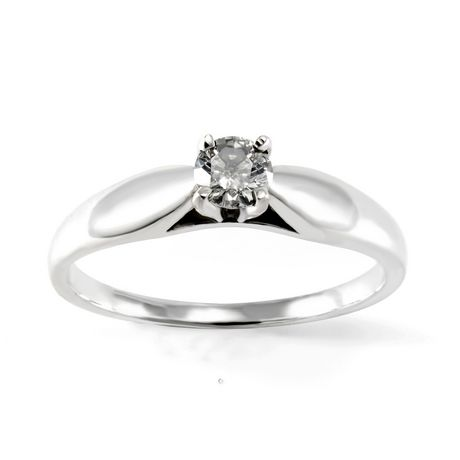 0.20 ct - Round Brilliant Diamond Solitaire Ring in Sterling Silver - image 1 of 4