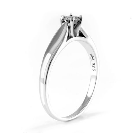 0.20 ct - Round Brilliant Diamond Solitaire Ring in Sterling Silver - image 2 of 4