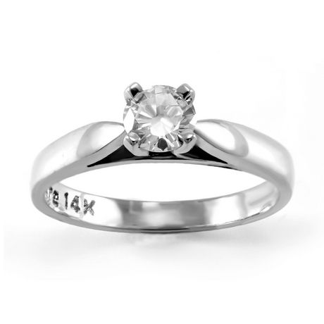 0.30 ct Round Brilliant Diamond Solitaire Ring in 14kt White Gold - image 1 of 4