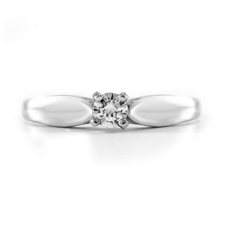 0.15 ct - Round Brilliant Diamond Solitaire Ring in Sterling Silver - image 3 of 4