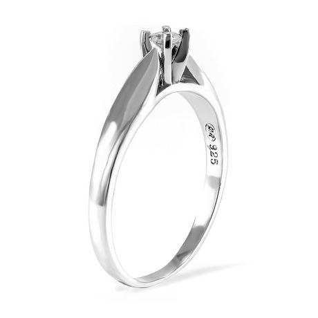 0.10 ct - Round Brilliant Diamond Solitaire Ring in Sterling Silver - image 2 of 4