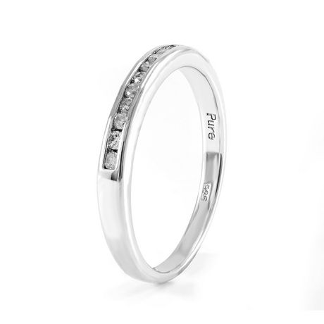 0.15 ct - Diamond Wedding Band in Sterling Silver - image 2 of 4