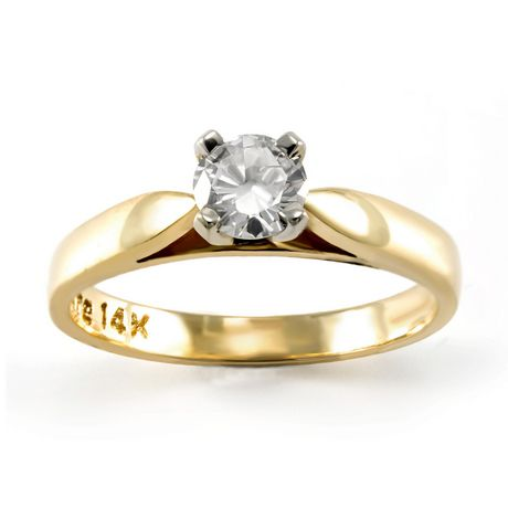0.30 ct - Round Brilliant Diamond Solitaire Ring in 14kt Yellow Gold - image 1 of 4