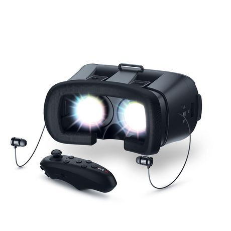 Black wireless VR headset for smartphones with black joystick controller