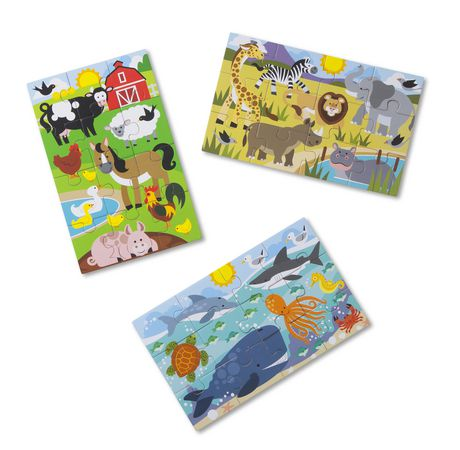 Melissa & Doug Puzzles Animaux Fascinants dans une boîte - 3 puzzles de 12 pièces chacun - image 1 de 4