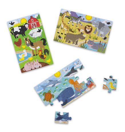 Melissa & Doug Puzzles Animaux Fascinants dans une boîte - 3 puzzles de 12 pièces chacun - image 2 de 4