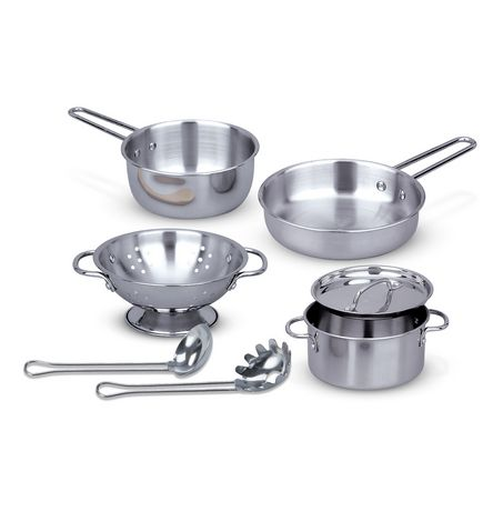 Melissa & Doug 8-Piece Stainless Steel What's Cooking Pots and Pans Restaurant and Kitchen Play Set - image 1 of 6
