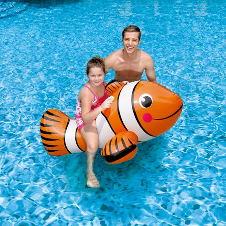 Blue Wave Clown Fish 67 In Inflatable Ride On Pool Toy