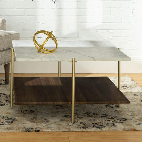 Manor Park Mid Century Modern Square Coffee Table - Marble & Gold - image 1 of 7