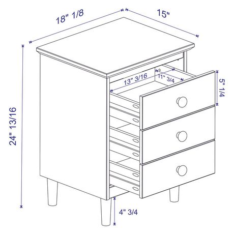 Manor Park Modern 3 Drawer Wood Nightstand - Multiple Finishes - image 5 of 5