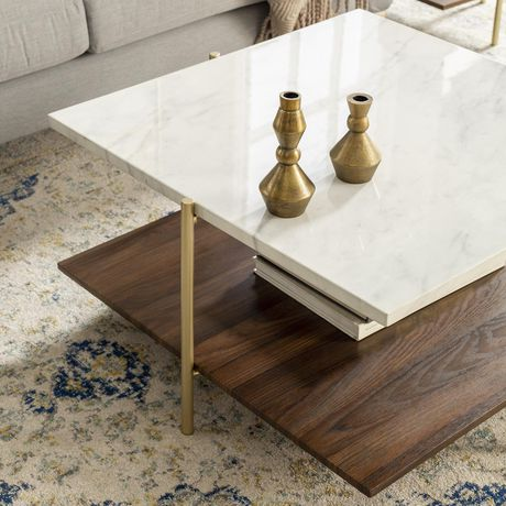 Manor Park Mid Century Modern Square Coffee Table - Marble & Gold - image 2 of 7