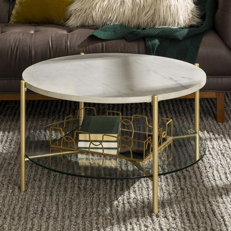 Manor Park Modern Round Coffee Table White Marble Top Glass