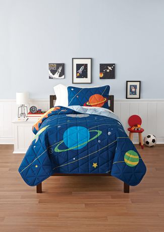 Mainstays Kids Space Reversible Solid Quilt Set - image 1 of 1