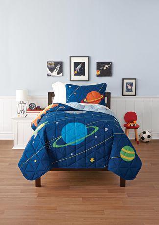 Mainstays Kids Space Reversible Solid Quilt Set Walmart