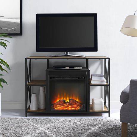 """Manor Park Rustic Industrial Fireplace TV Stand with Open Shelves for TV's up to 44"""" - Barnwood - image 1 of 7"""