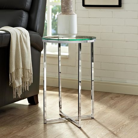 Manor Park Round Side Table - Glass/Chrome - image 3 of 7