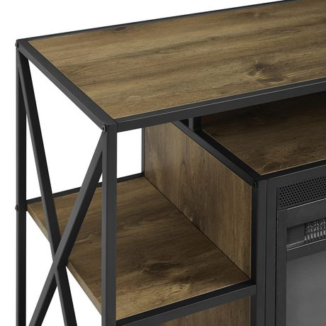"""Manor Park Rustic Industrial Fireplace TV Stand with Open Shelves for TV's up to 44"""" - Barnwood - image 4 of 7"""